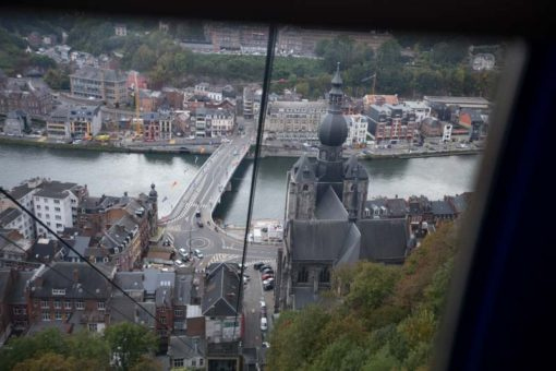 view of Dinant, Belgium, from the cable car
