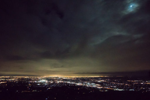 Melbourne by night under a storm of clouds and a full moon ©Erika's Way Photography