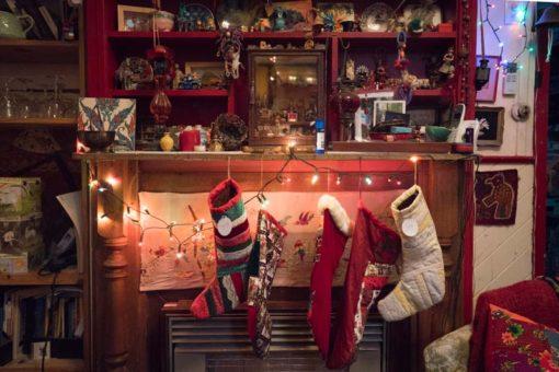 Christmas socks and Christmas lights