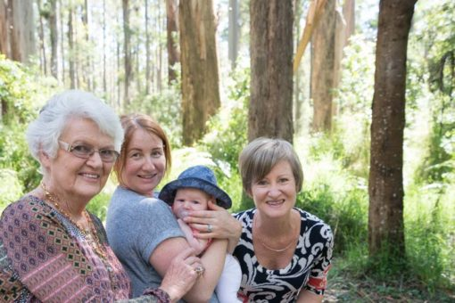Four generations of women in Sherbrook Forest. Copyright Erika's Way Photography