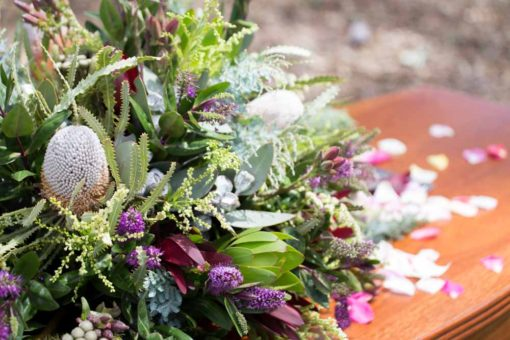 Australian Native flowers for the coffin. Copyright Erika's Way