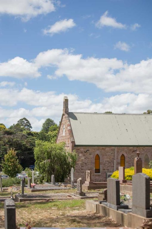 Uniting Church and cemetery in Woodside. ©Erika's Way Photography