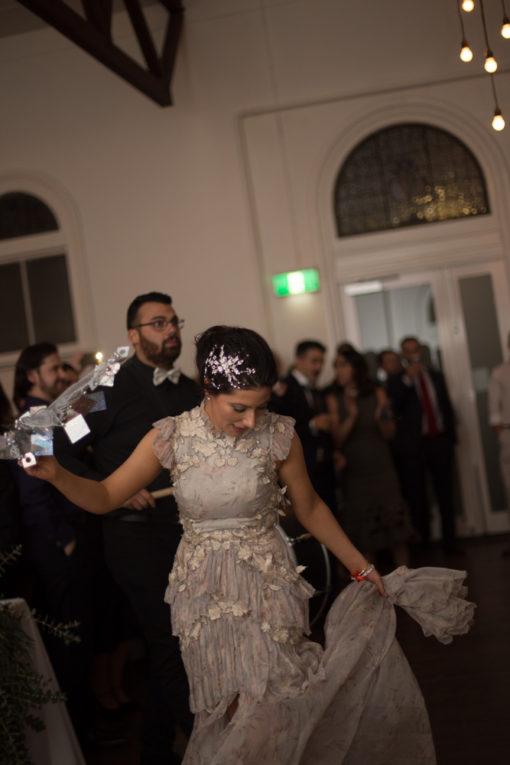 Bride dancing at her Weddingat Abbotsford Convent