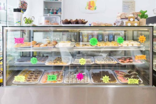 overview of the beautiful cakes and pastries at the local Italian style Bakery in Belgrave