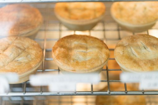 Fresh meat pies available the the Italian Belgrave Bakery