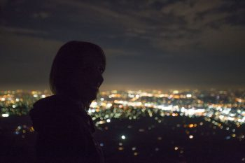 Looking at the city lights by night
