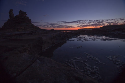 super still water among the rocks at Cape Paterson at Sunset