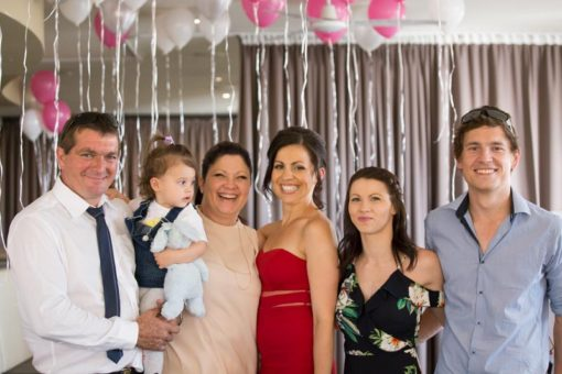 Group photo of the immediate family of the Bride at the Engagement Party. Copyright Erika's Way Photography