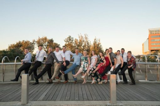 Funny group Photo at the Engagement Party with Bride and Groom's family. Copyright Erika's Way Photography