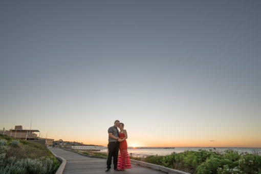 Couple in the sunset at the Frankston Beach. Copyright Erika's Way Photography Wedding and Engagement Photographer