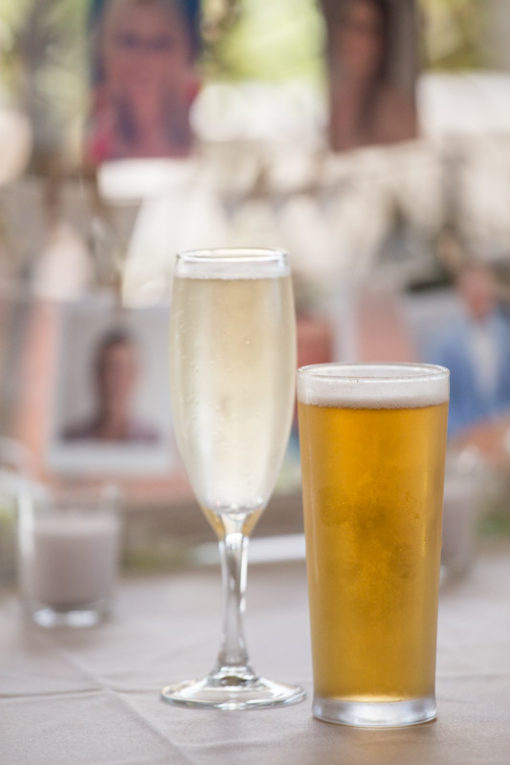 A glass of champagne and a pint of beer for the Bride and the Groom to start the Engagement Party at Daveys Hotel in Frankston, Vic