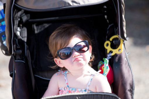 one year old girl with very fashion style glasses. ©Erika's Way Photography