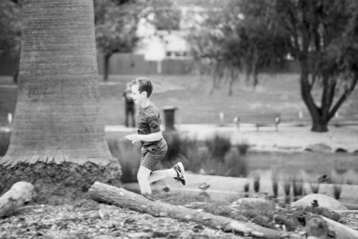 Kid running in a Park