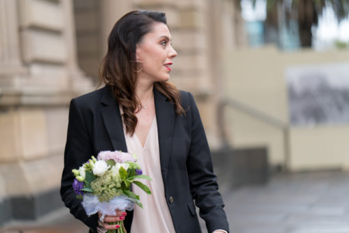 Bride wlking casually in the streets in Melbourne