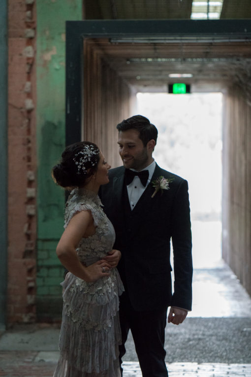 Bride and Groom walking around Abbotsford Convent