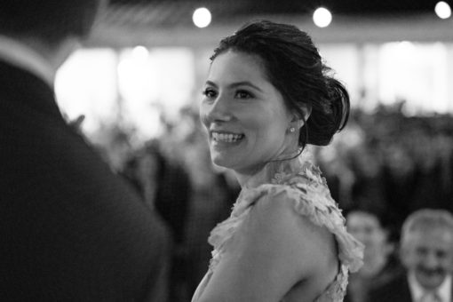 Gorgeous and happy Bride during the ceremony