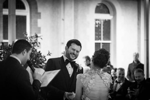 Happy laugh of the Groom during the Wedding Ceremony
