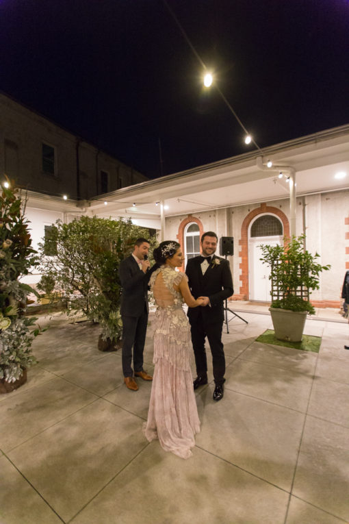 Night Wedding in one of the courts of Abbotsford Convent, Melbourne, Vic