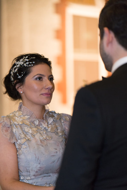 Bride's attentive look during the Ceremony