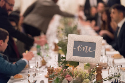 Wedding Table number and floral Decorations details.