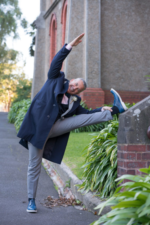 Stretching before the Wedding Ceremony at Abbotsford Convent