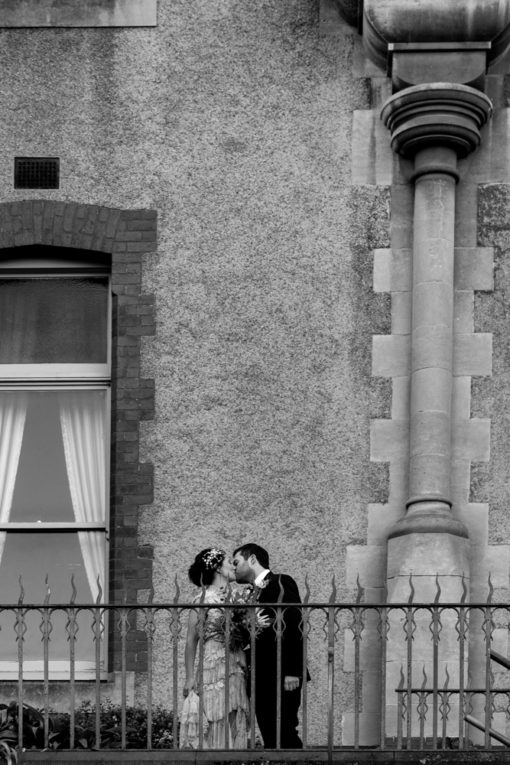 Bride and Groom kissing at Abbotsford Convent, Abbotsford, Melbourne. Photo by Erika's Way Wedding Photography