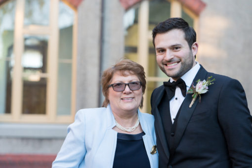 Mum of the Bride and Groom smiling just before the Wedding Ceremony at Abbotsford Convent, Melbourne