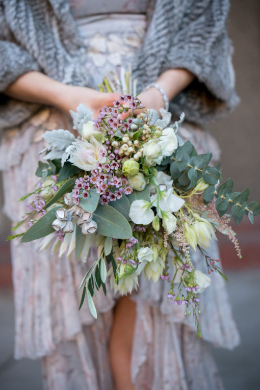 Bride's Bouquet of light yellow and pink flowers