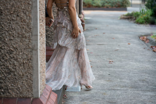 Stunning pale pink/Beige Wedding Dress detail
