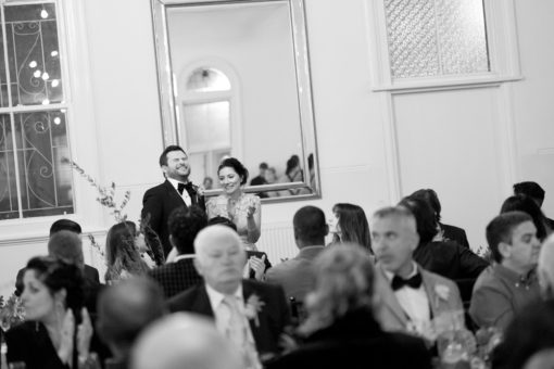 Laughing during the Wedding speeches. Happy and stunning Wedding at Abbotsford Convent, Abbotsford, Melbourne. Photography by Erika's Way Photographer