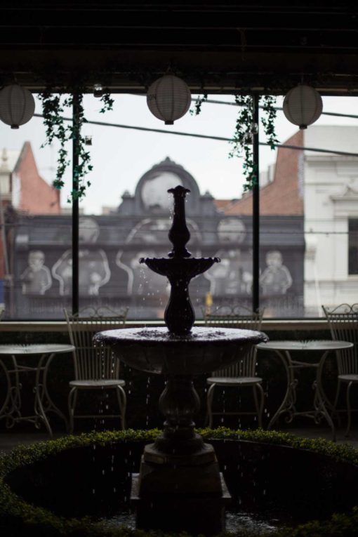 Upper floor indoor garden with fountain, Cider House, Fitzroy, Melbourne. Photo by Erika's Way Photography