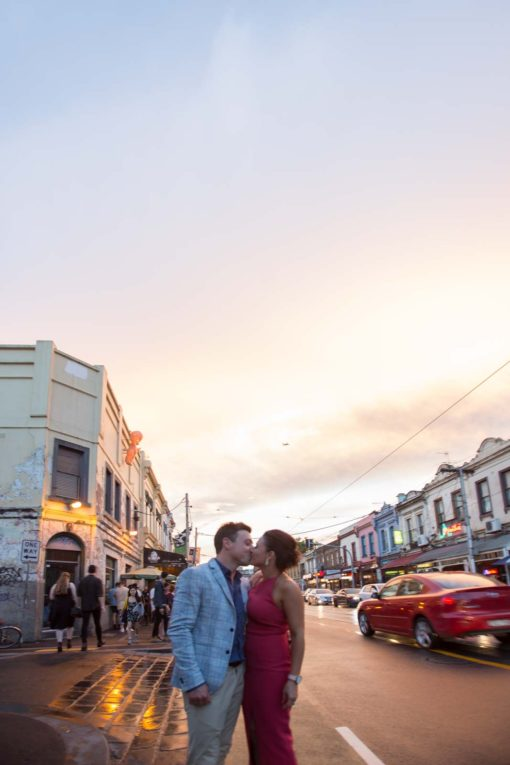 Sunset kiss in Brusnwick street, Fitzroy, Melbourne. Photo by Erika's Way Photography