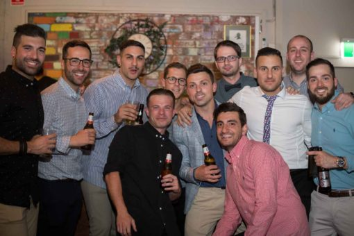 Groom and his friends at the Engagement Party! Photo by Erika's Way Photography