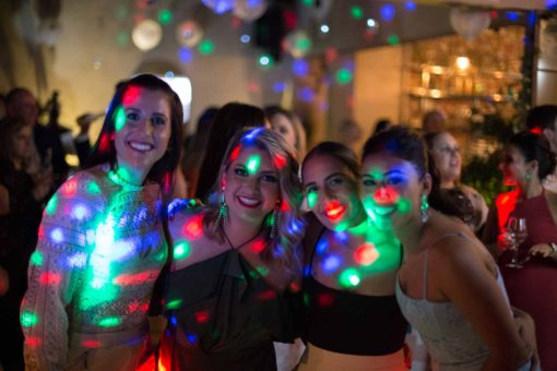 Engagement Party disco lights. Photo by Erika's Way Photography