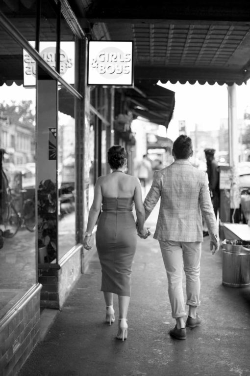 Bride and Groom street photography in Melbourne. Photo by Erika's Way Photography
