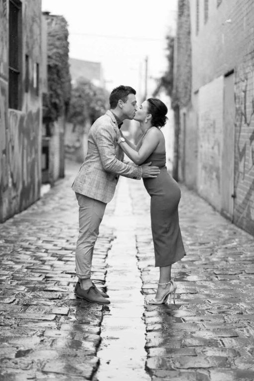 The kiss. Fitzroy, Melbourne Engagement and Wedding Photography. Real moments. Emotions that you can't describe. Photo by Erika's Way Photography